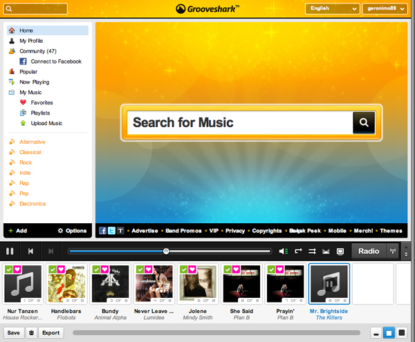 grooveshark user interface Grooveshark music in the cloud