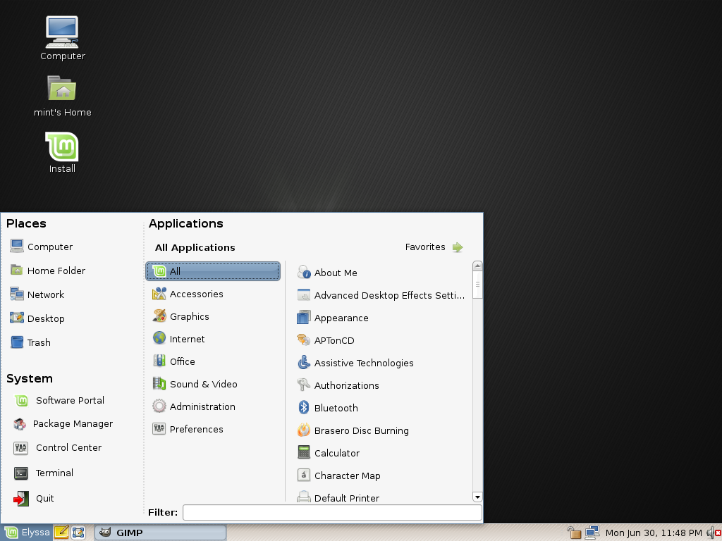 mintscreen1 Linux Mint