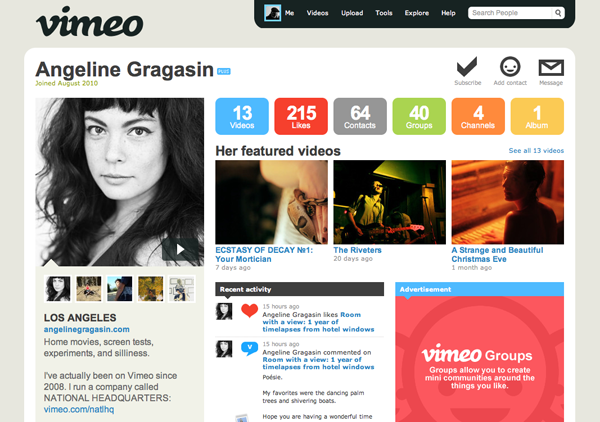 vimeo user profile pretty video hosting: vimeo